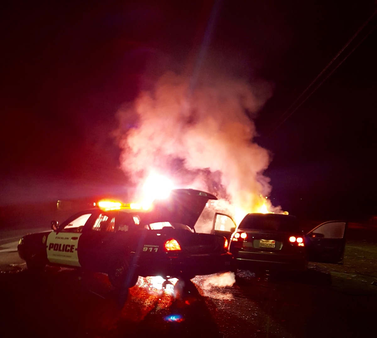 ESCALON POLICE VEHICLES INVOLVED IN LAST NIGHT'S TRAFFIC ACCIDENT - OCTOBER 26, 2015