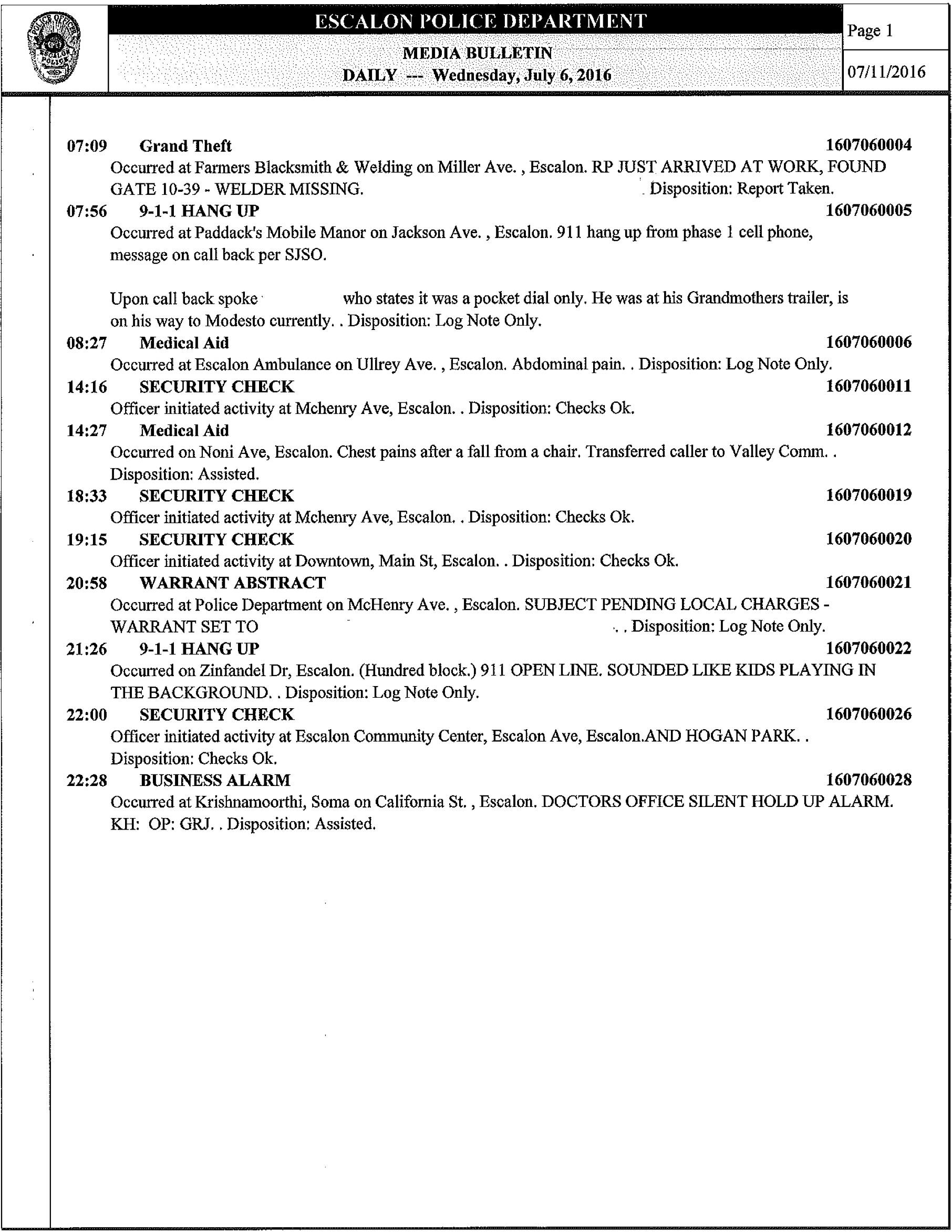 Escalon police log for 06/29/16 – 07/11/16  – WeEscalon
