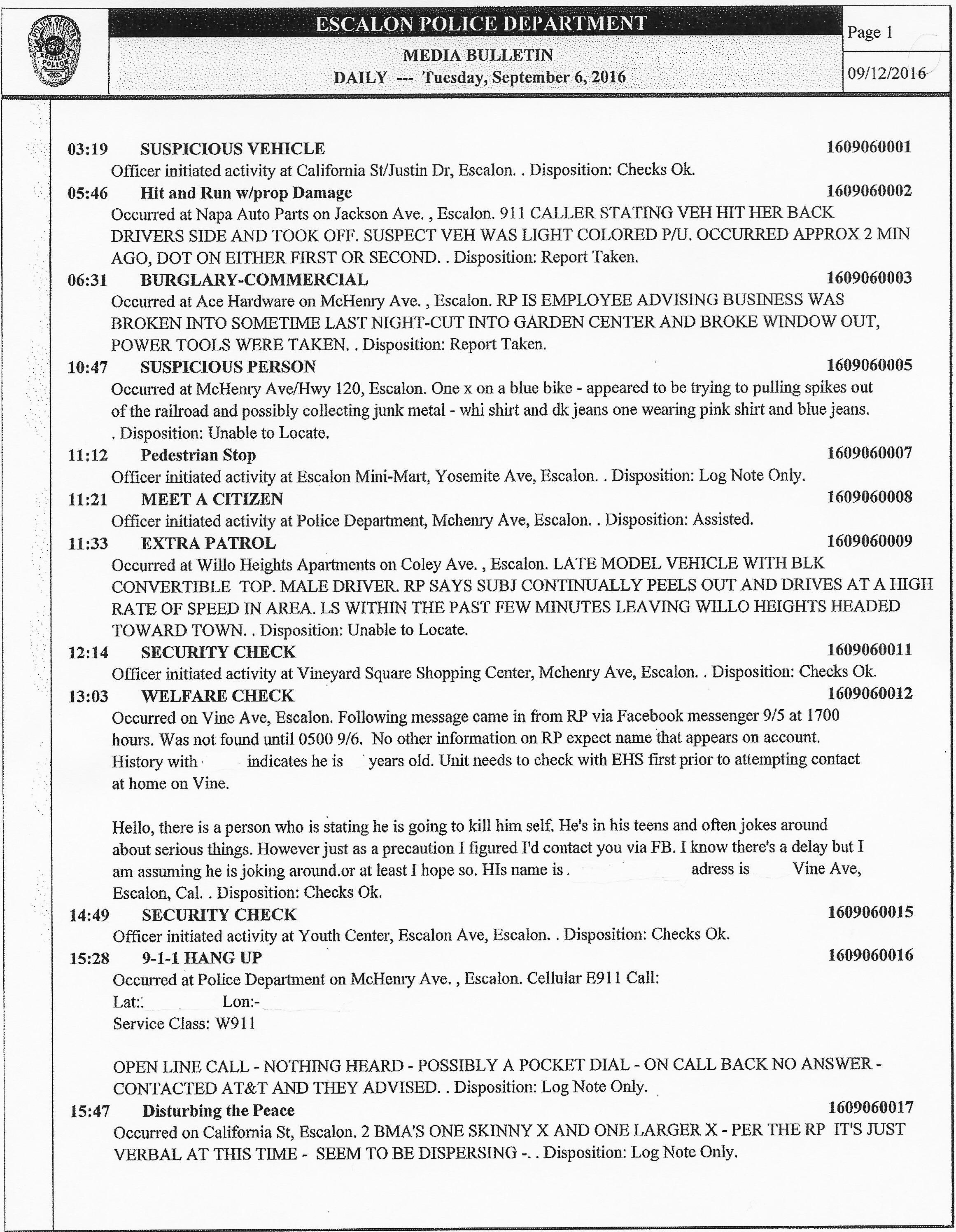 Escalon Police Activity Log for 09/06/16 – 09/12/16  – WeEscalon