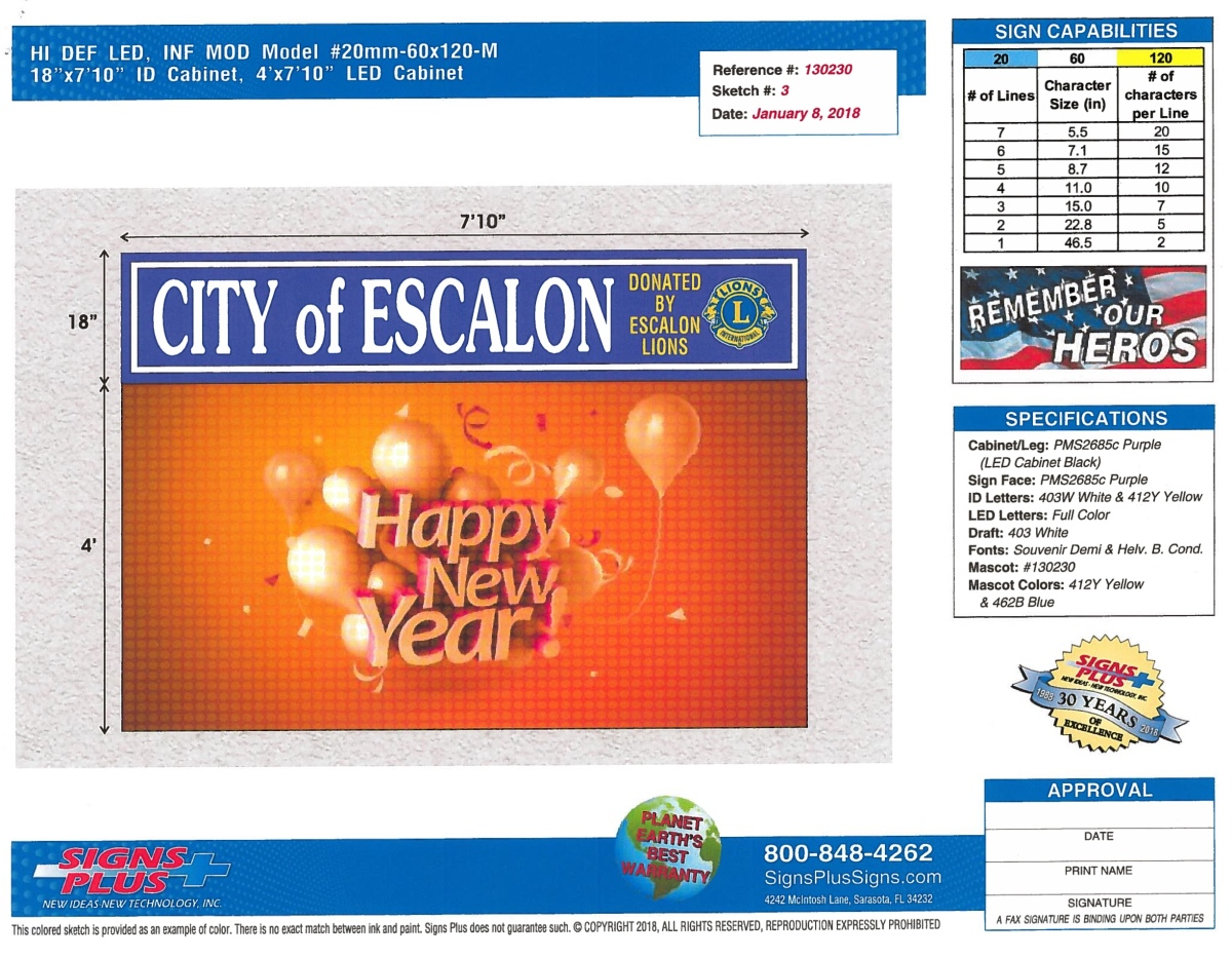 City of Escalon to get an electronic Community Event Sign